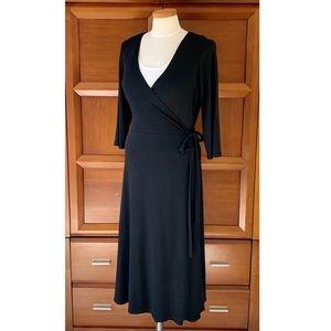 Eileen Fisher Black Wool Wrap Dress